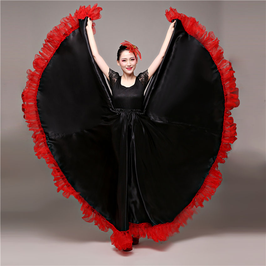 Spanish Bullfighting Dance Flamenco Skirt Ballroom Art Style Women Satin Dress Gypsy Red Stage Wear Performance Costume