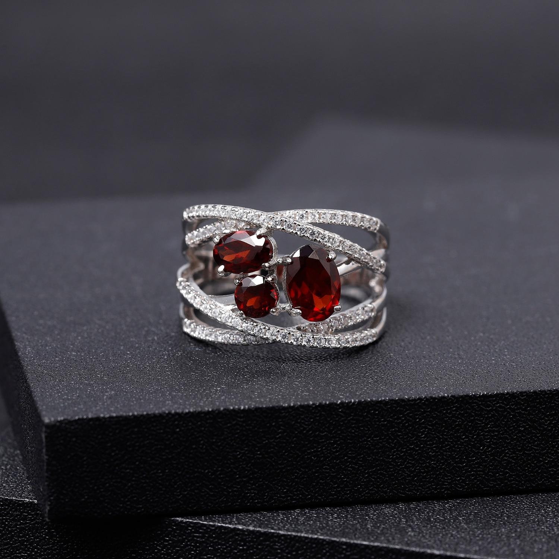 GEM'S BALLET 925 Sterling Silver Criss-Cross Gemstone Ring 1.87Ct Natural Red Garnet Finger Rings For Women Wedding Fine Jewelry