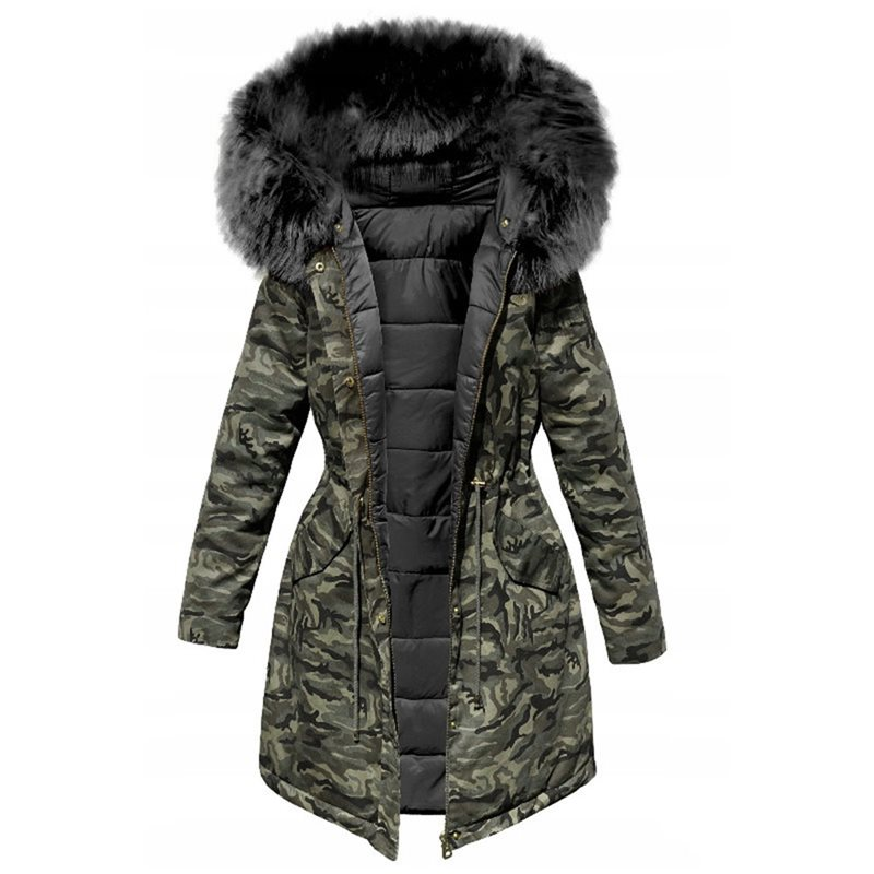 Women Ladies Padded Hooded Winter Military Coat in Khaki