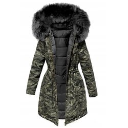 Warm Katoen Gewatteerde Jas Camouflage Parka Vrouwen Lange Overjassen Winter Warme Dikke Vrouwelijke Toevallige Militaire Bont Tops Jassen