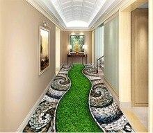 floor wallpaper 3d for living room  Cobblestone green grass three-dimensional carpet