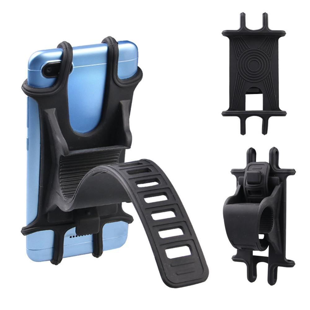 Bike Phone Holder Adjustable Silicone Pull Button Anti-shock Mount Forks Bicycle
