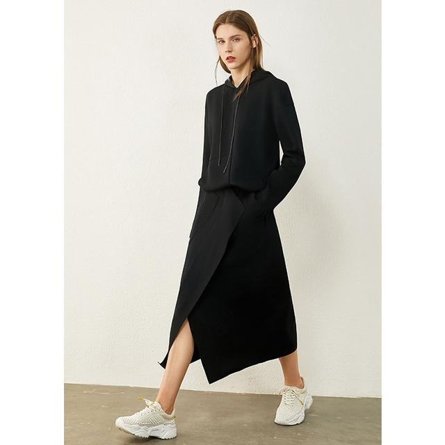 AMII Minimalism Autumn Causal Women Hoodies Set Solid Hooded Loose Sweater Hoodies Solid Irregular Hem Female Skirt 12020233 3