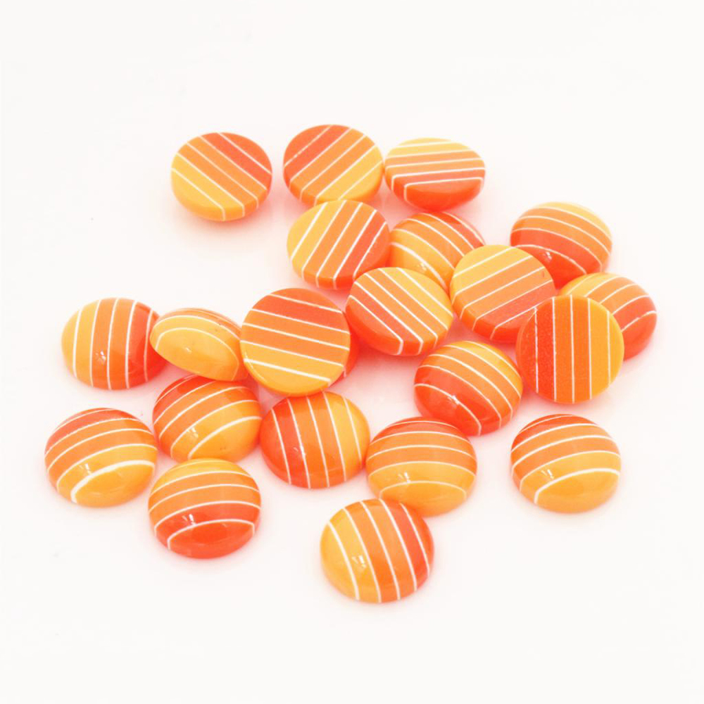 New Fashion 40pcs 12mm White Orange Colors Stripe Style Flat Back Resin Cabochons Fit 12mm Cameo Base Cabochons-W3-14