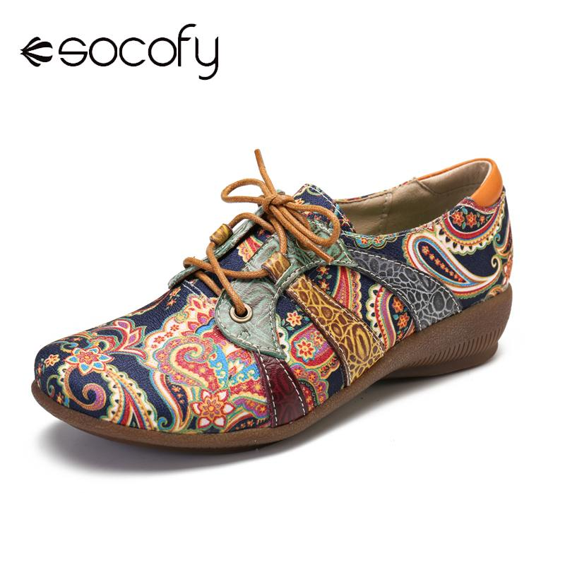 SOCOFY Retro Splicing Folkways Style Cloth Round Toe Lace Up Flat Leather Shoes Elegant Shoes Women Shoes Botas Mujer 2020