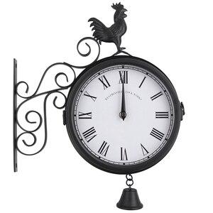 Image 2 - Horloge murale de jardin en plein air Double face coq Vintage rétro décor à la maison