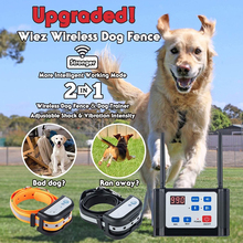 Wireless Dog Fence Electric Training Collar 2-in-1 Dual Antenna Adjustable Range Control 100-990 ft Rechargeable for 2 Dogs