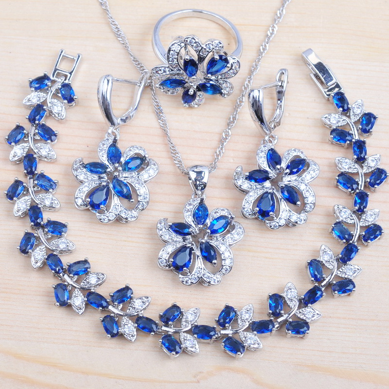 Russian Style Flower Blue Cubic Zircon Silver Color Women Jewelry Sets Bracelet Necklace Pendant Earrings Ring QS0532