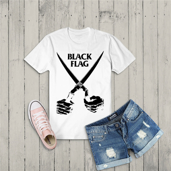Black Flag Usa Music Band Artwork Doa Sword Vintage Unisex White T Shirt Outfit Tee Shirt