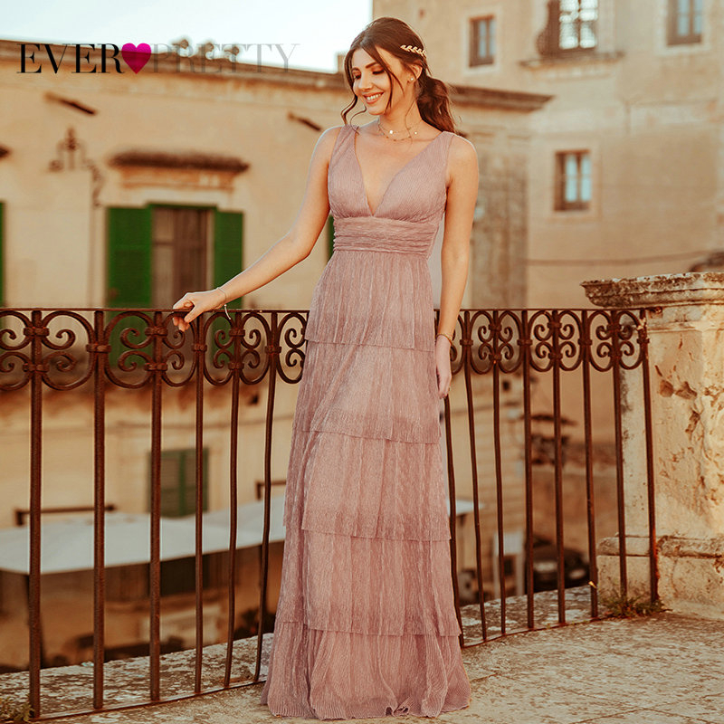 Black Prom Dress 2020 Ever Pretty EZ07766 Sexy V-neck Rufflues A-line Sleeveless Blush Pink Formal Party Gowns Robe De Soiree