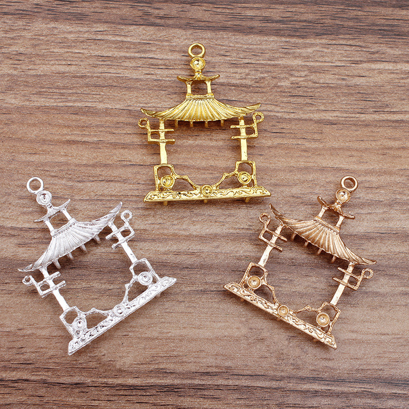 10 PCS 49*37mm Fashion Metal Alloy Gold Silver Color Pavilion House Pendant Charm For Jewelry Making