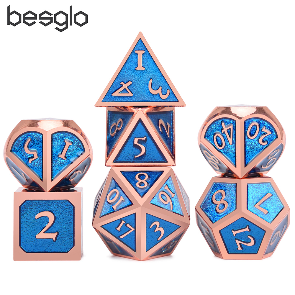 7Pcs Polyhedral Alloy Dice D4-D20 Blue Numbers for Adults Bar Entertainments