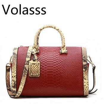 Genuine Leather Boston Bag Handbag For Women Serpentine Embossed Shoulder Bags Casual Tote Large Capacity Pillow Pochette Femme