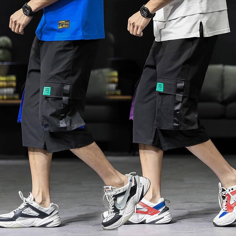 2019 Men Cargo Shorts Streetwear Casual High Street Loose Short Pants Black Summer Knee Length Shorts Men Funny Hip Hop Shorts