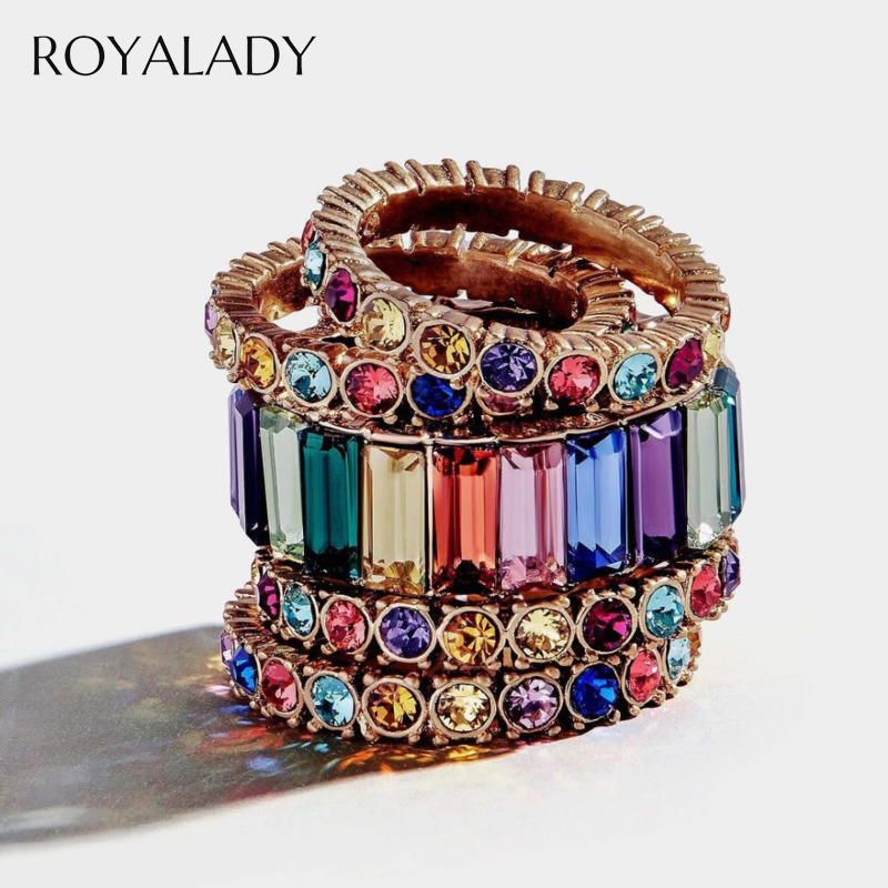 Fashion Cubic Zirconia Stack Rings For Women Luxury Austrian Zircon Rainbow Color Engagement Wedding Ring Party Femme Jewelry