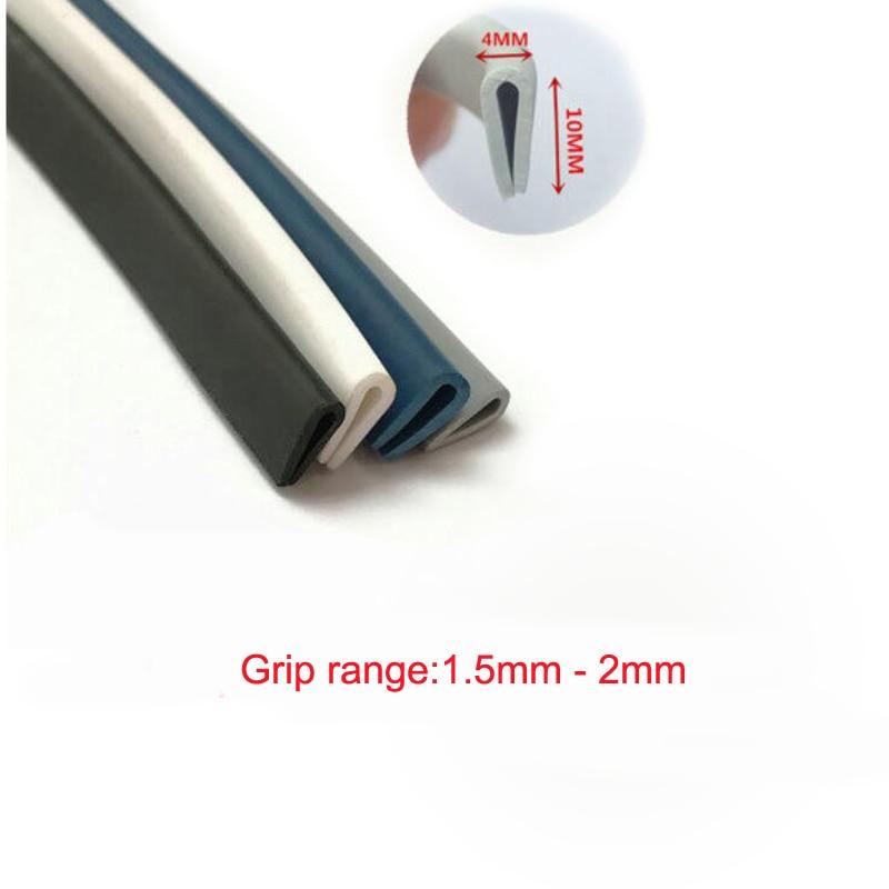 4 X 10mm U Channel EPDM Metal Edge Trim Strip Glass Edge Guard Rubber Sealing Strip Weatherstrip Car Door Protector