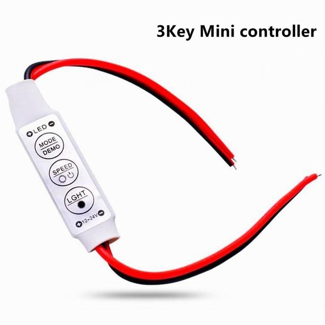 DC 12V Mini 3 Keys Dimmer Controller Single Color 5050 3528 Led Light Strip US