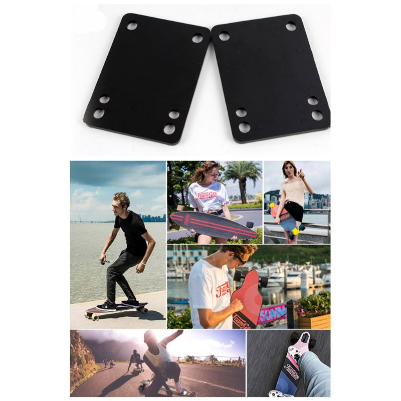 2 Pcs/set Skateboard Shock Absorbing Gasket Skate Riser Pad Shockpad Replacement Long Board Hardware Accessory