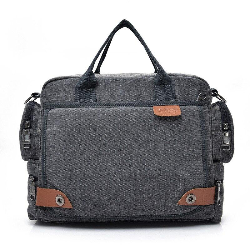 Multi-layer Canvas Men's Bag Fashion Men's Briefcase Shoulder Bag Business Casual Mobile Messenger Bag