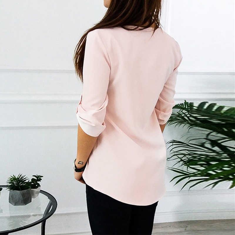 เซ็กซี่ V คอซิป Roll Up แขนยาวหลวมเสื้อผู้หญิงเสื้อชีฟองเสื้อฤดูใบไม้ผลิฤดูร้อน Blusa Feminina PLUS ขนาด 3XL