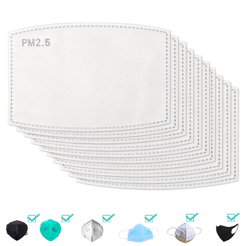 20/50/100pcs PM2.5 Anti Haze Mouth Mask Replaceable Filter-slice 5 Layers Non-woven Activated Carbon Filter Face Masks Gasket