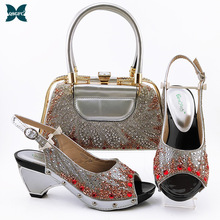 Bag-Set Ladies Shoes Rhinestone Wedding Silver-Color Italian-Design Fashion And Party