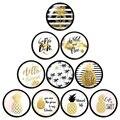 Изображения Fahsion, ананас, цветы, листья, 10 шт., Смешанные Круглые Стеклянные Кабошоны 12 мм/16 мм/18 мм/25 мм, фурнитура для изготовления плоской за...