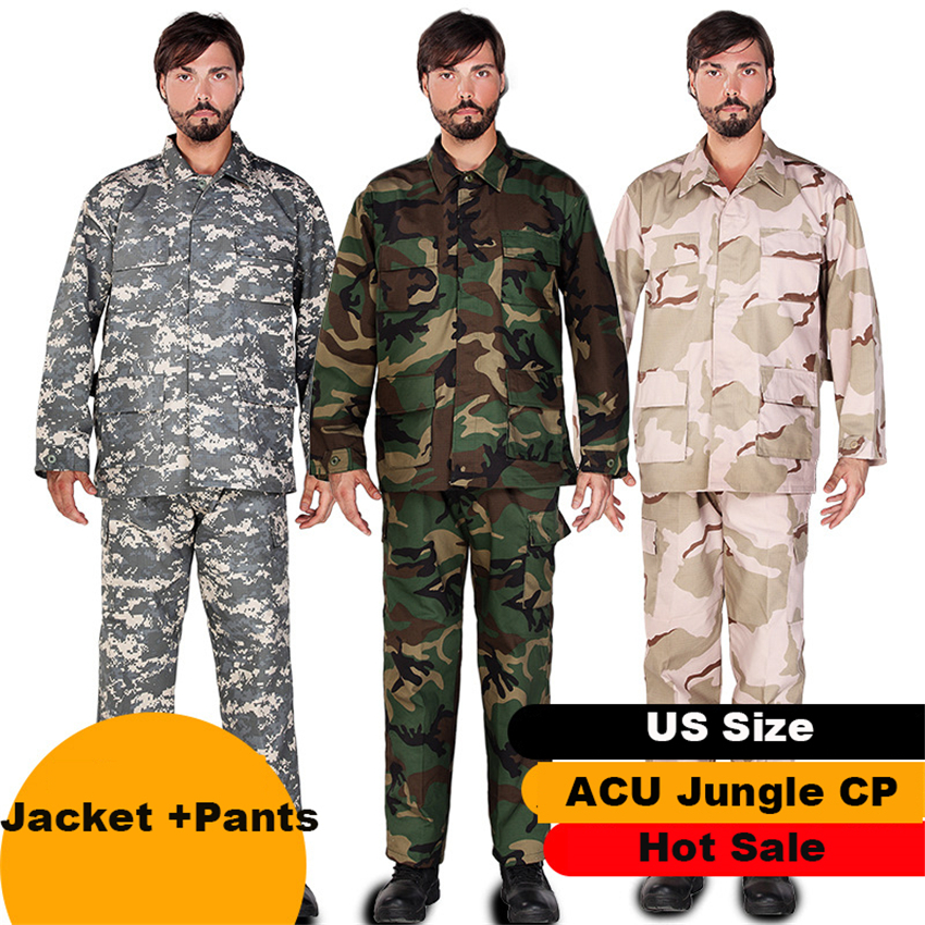 ACU CP Camouflage Army Military Uniform Men Tactical Clothing Desert Cargo Combat Shirt Men Jacket  Pants Sets Airsoft Disguise