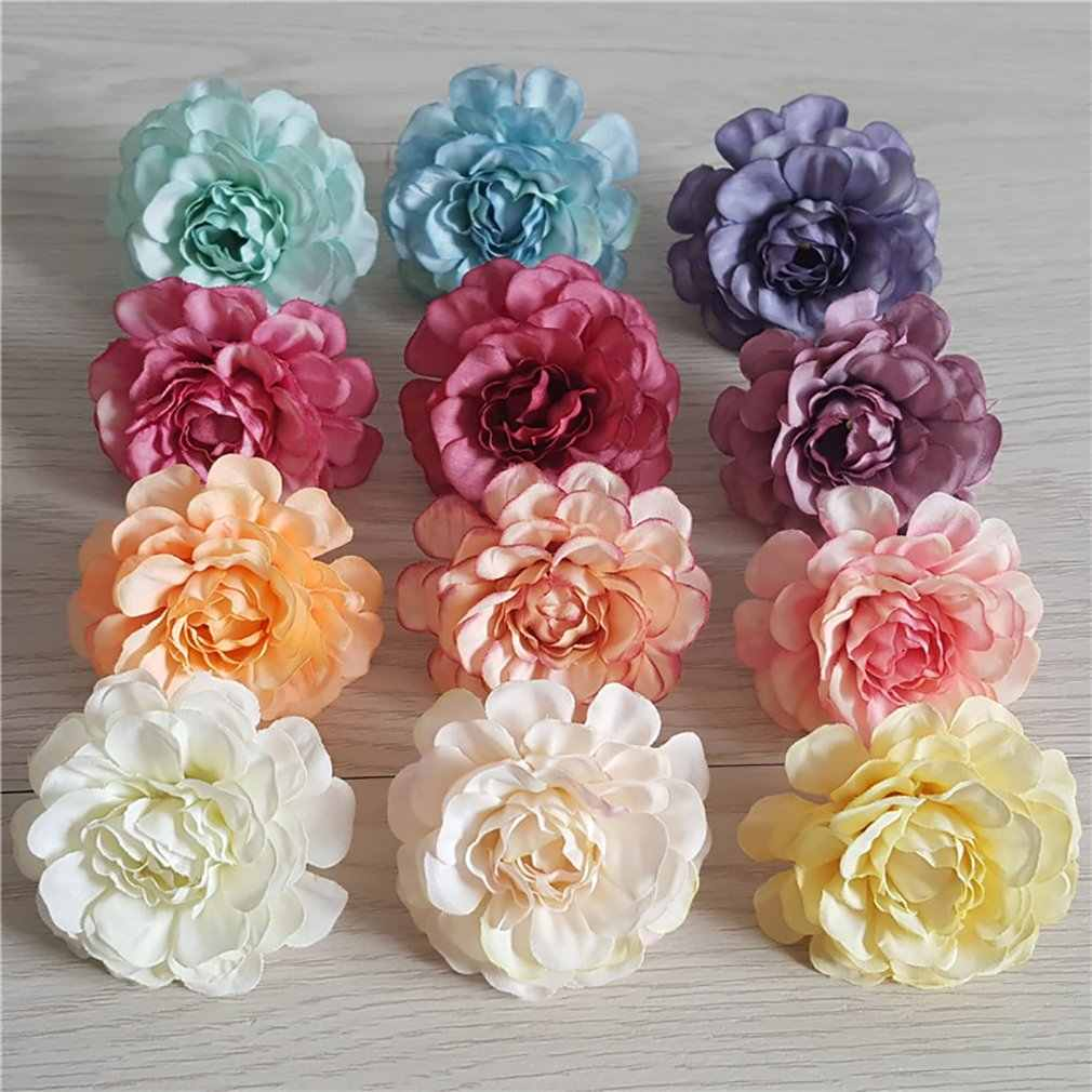 10 pçs/set Silk Rose Flor Heads Craft DIY Grinalda Presente para Casamento Casa Decoração