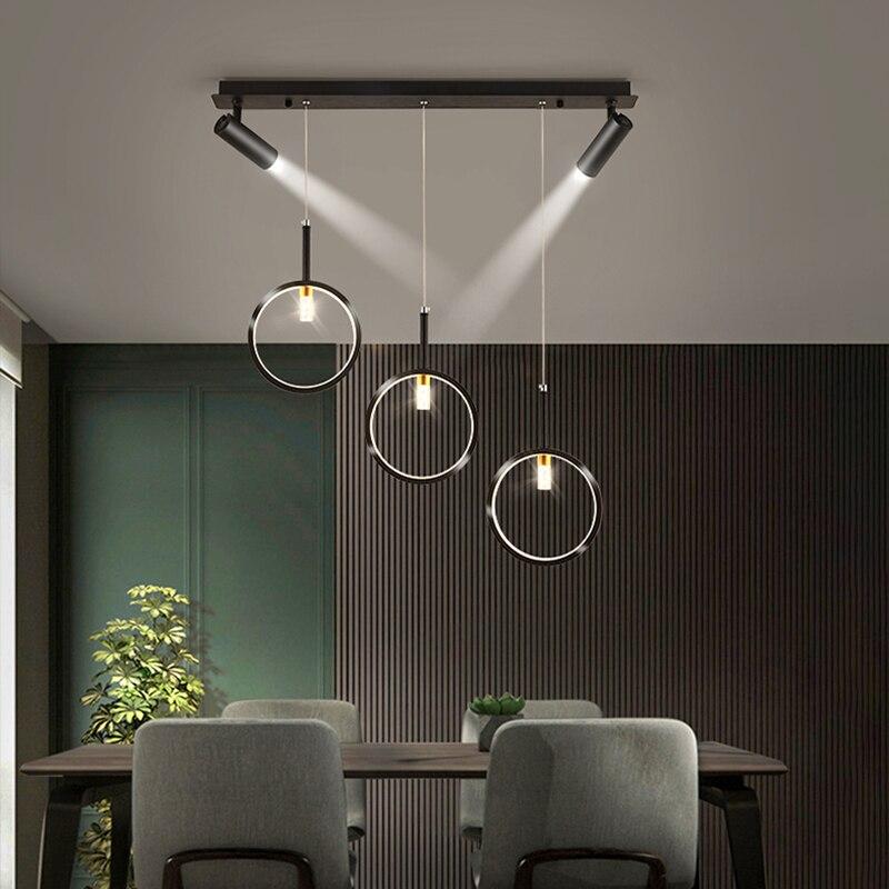 Современный светодиодный Потолочный подвесной светильник с Точечный светильник черный блеск металлический подвесной светильник для стол...