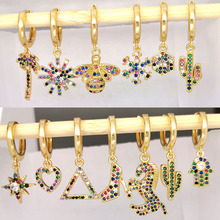 Small Hoop Earrings Women Heart Bee Geometric Cactus Leaf Flower Crown Star Horse CZ Rainbow Jewelry Gold Color Kid Hoops 1pc цены