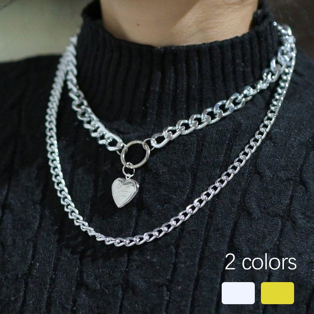 2-3PCs Steampunk Sliver Necklace Women Pendant Gold Dainty Layered Choker Pendant Adjustable Punk Necklaces Set подвеска кулон