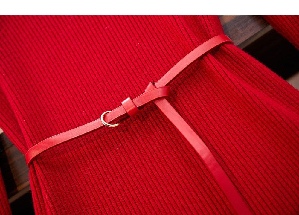 Red Knitted 2 Piece Sets Outfits Women Dot V-neck Vest + Long Sleeve Slim Dress With Belt Suits Elegant Fashion Korean Sets 2019 40