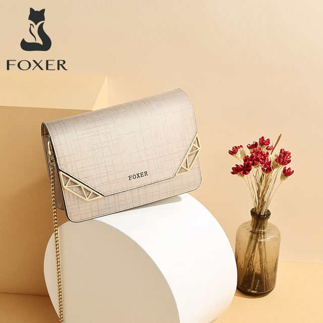 Женская сумка через плечо FOXER, черная сумка из воловьей кожи, с цепочкой и ремешком,