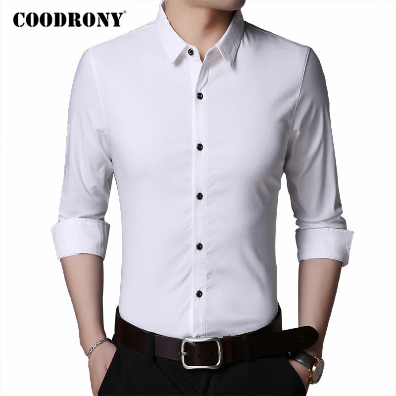 COODRONY Brand Pure Color Long Sleeve Shirt Men 2020 Spring Autumn Business Casual Shirts Mens Wear Slim Fit Chemise Homme C6026