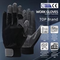 Qiangleaf marca luvas de trabalho segurança equitação preto cinza proteção luva de trabalho atacado transporte rápido 6490