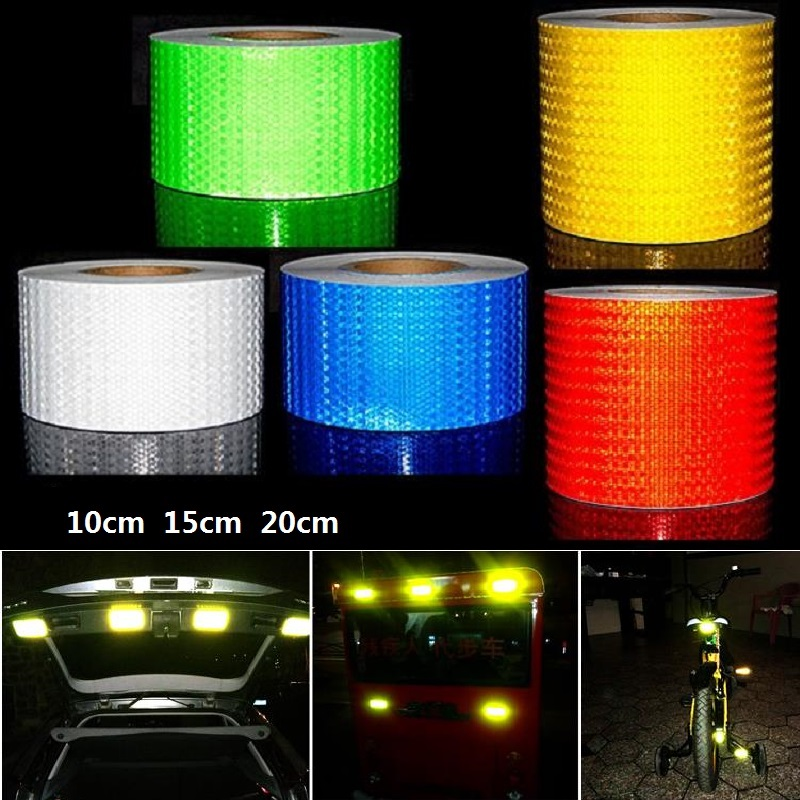 15CM*1M Width Super Reflective Car Decoratiive Sticker PVC Reflective Self-adhesive Tape Road Traffic Warning Sign Safety Tape