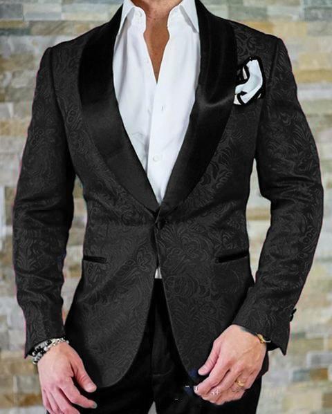 2019 Groom Wear Black Shawl Lapel Best Male Suits Wedding Tuxedos (Jacket+Pants+Tie) Custom Made Slim Fit  Men's Blazer Suits