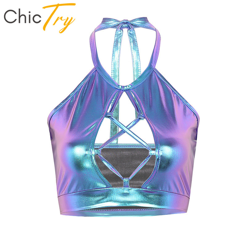 Women Sexy Crop Top Wetlook Metallic Halter Front Hollow Backless Club Party Performance Pole Dance Tops Festival Rave Costume