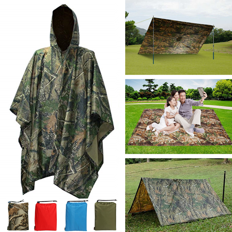 3 In 1 Outdoor Military Raincoat Multifunction Waterproof Men Raincoat Women Awning From The Rain Motorcycle Poncho Picnic Mat