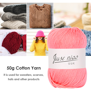 50g/roll Cotton Thin Yarn for Crochet Stitching Knitting Soft DIY Baby Threads Soft Rival Line Knitting Tape Yarn Thread image