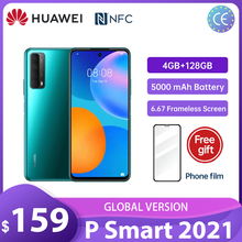 (Bezpłatny Film)Huawei P Smart 2021 4GB 128GB NFC 48 MP Quad Camera 5000 mAh bateria 6.67 bezramowa ekran telefony komórkowe Смартфоны