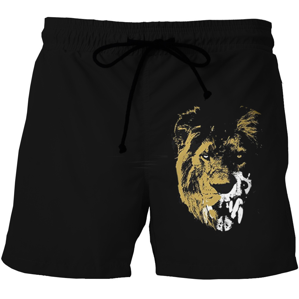 European And American Men's Quick-drying Beach Shorts 3D Tiger Printing Casual Pocket Shorts On Both Sides