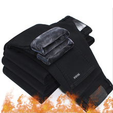 2020 גברים אופנה חורף ג ינס גברים שחור Slim Fit למתוח קטיפה עבה מכנסיים חם ג ינס מזדמן צמר מכנסיים זכר בתוספת גודל