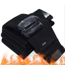 2020男性ファッション冬のジーンズの男性黒スリムフィットストレッチ厚いベルベットパンツ暖かいジーンズカジュアル男性プラスサイズ