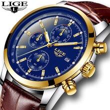 LIGE Watch Men Fashion Sport Quartz Clock Mens Watches Top Brand Luxury Business Leather Waterproof Gold Watch Relogio Masculino