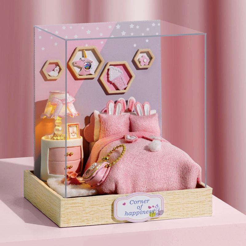 GloryStar DIY Mini House Wooden Doll House Furniture Dust Cover Kit House Model Toy for Children Christmas