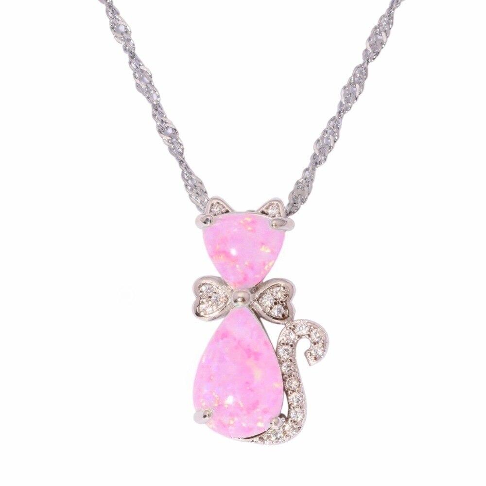Fashion Cute Cat Pendant Pink Opal Choker Necklace Women Fashion Women's Animal Chain Necklaces Trendy Boho Couples Jewelry