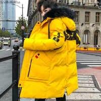 AreMoMuWha de algodón para hombre de invierno nueva chaqueta de tendencia gruesa para hombre larga Casual de Color sólido con capucha Chaqueta de algodón para hombre chaqueta QX346