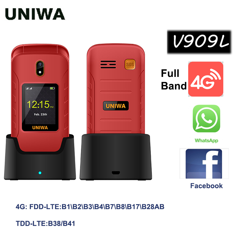 UNIWA V909L 4G Full Band Feature Cellphone Android OS 1GB RAM 8GB ROM Flip Mobile Phone MTK Quad-core WIFI Bluetooth Clamshell